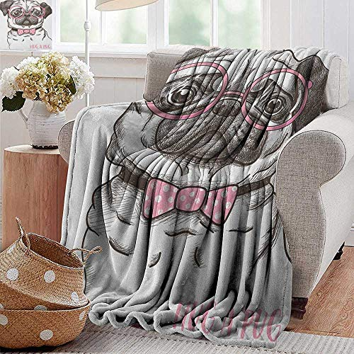 XavieraDoherty Wearable Blanket,Pug,Cute Pet Dog with Pink Bow Tie Oversized Glasses Hand Drawn Domesticated, Brown Pale Pink White,300GSM, Super Soft and Warm, Durable - Biederlack Sports Throws