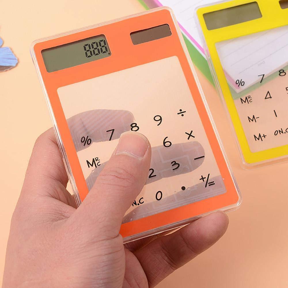 Opeer Transparent Calculator Mini Creative Stationery Candy Slim Solar Energy LED Clear Scientific Calculator (Size:80X119mm, Random)