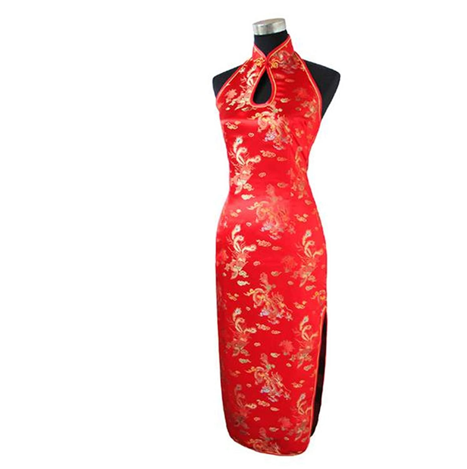 589caea90 Sexy Burgundy Backless Traditional Chinese Dress Long Halter Cheongsam  Qipao Novelty Black M: Amazon.co.uk: Clothing