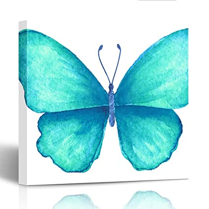 Emvency Painting Wall Art Canvas Print Square 20x20 Inches Butterfly Turquoise Summer Watercolor Drawing Decoration