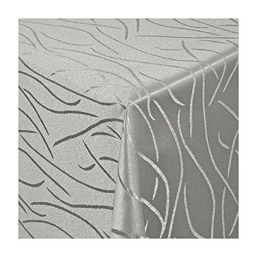 TEXMAXX Damast Tischdecke Maßanfertigung im Streifen-Design in grau-silber 130x310 cm eckig, weitere Längen und Farben wählbar
