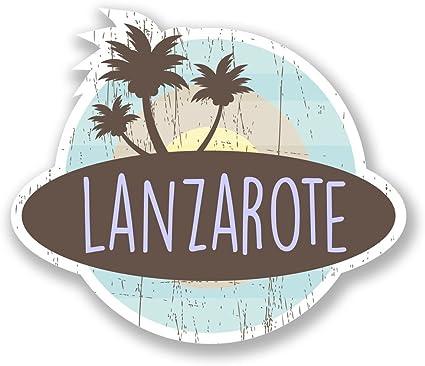 2 x 10cm/100 mm Isla de Lanzarote España Etiqueta autoadhesiva de vinilo adhesivo portátil de viaje equipaje signo coche divertido #6761: Amazon.es: Coche y moto