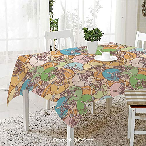 - SCOXIXI Rectangle Tablecloth,Pile of Helmets and Rugby Balls Sports Fun Game Equipment Vintage Art Decorative,Great for Table,Parties,Holiday Dinner(55.11