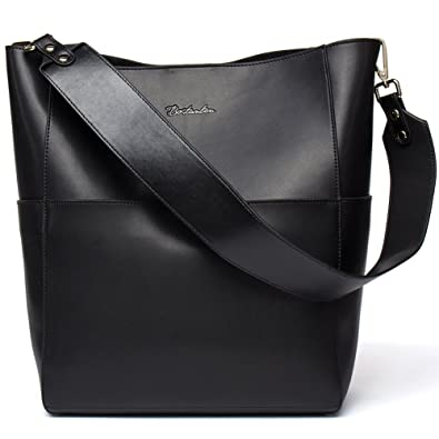 652d0178cf BOSTANTEN Women s Leather Designer Handbags Tote Purses Shoulder Bucket Bags  Black