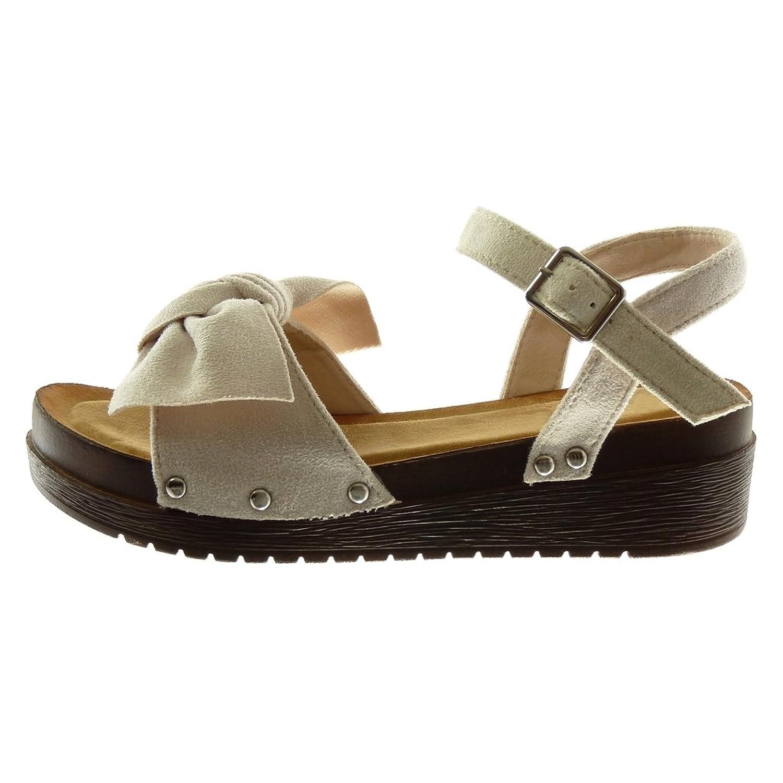 Angkorly - Chaussure Mode Sandale Mule plateforme lanière cheville femme noeud clouté bois Talon compensé plateforme 4.5 CM - Beige 1N3SMj