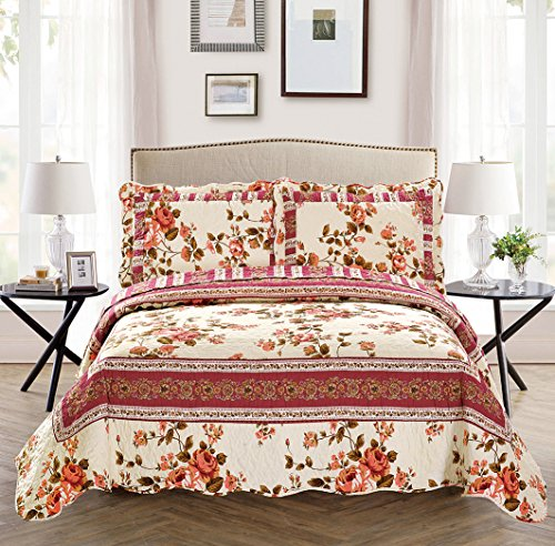 Fancy Collection 3 Pc Bedspread Bed Cover Beige Pink Floral (Ful/Queen)