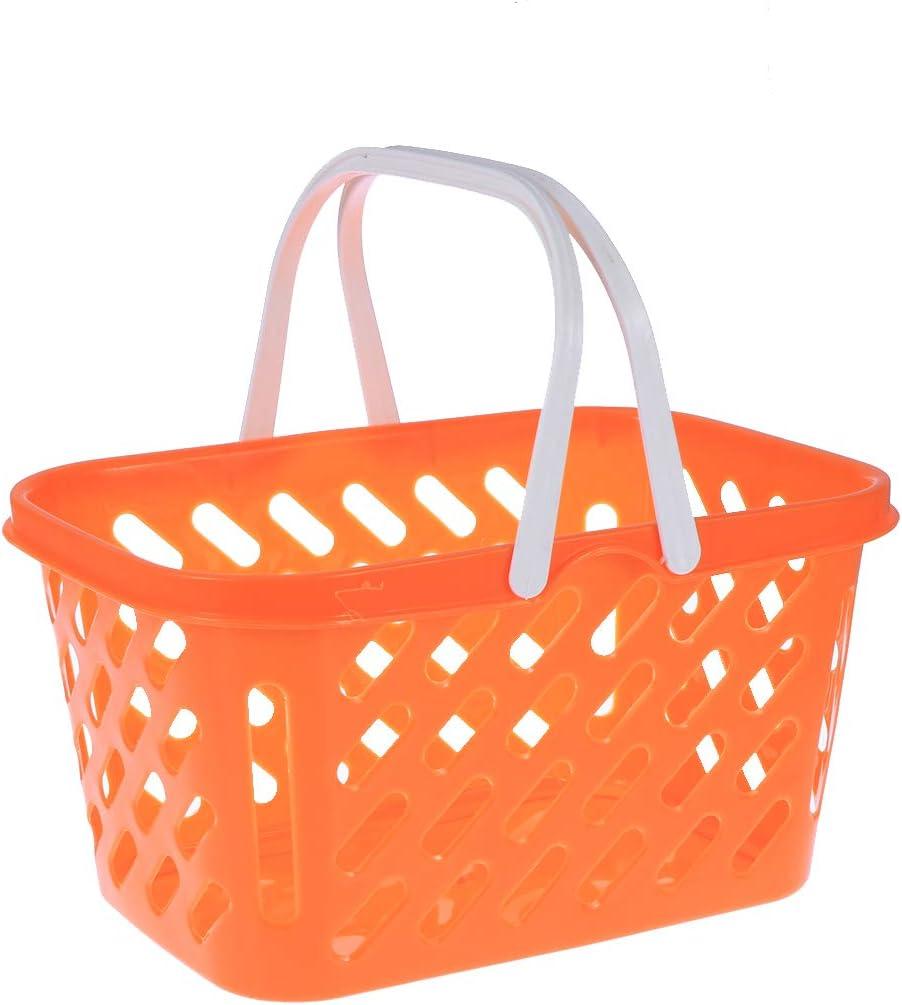 toymytoyショッピングバスケットおもちゃポータブル子供プラスチックGrocery Basket withハンドルfor Children KidsキッチンPretend Play Toy (オレンジ)