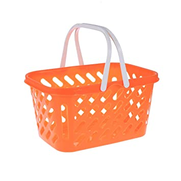 Kids Shopping Basket Role Play Grocery Supermarket Food Play Yellow Medium