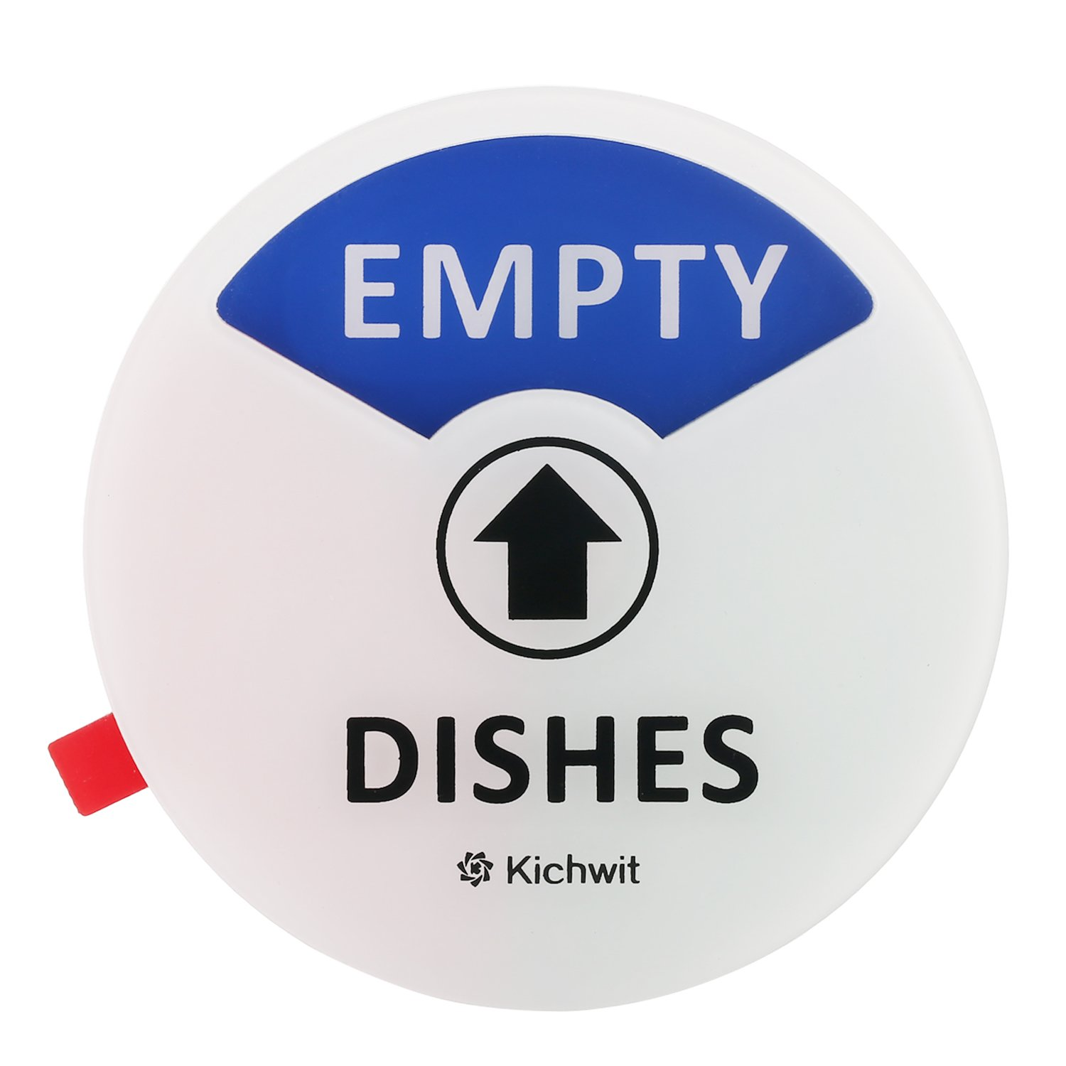 """Kichwit Clean Dirty Dishwasher Magnet with the 3rd Option """"Empty"""", Non-Scratch Strong Magnet Backing, Residue Free Adhesive Included, 3.5"""" Diameter, White"""