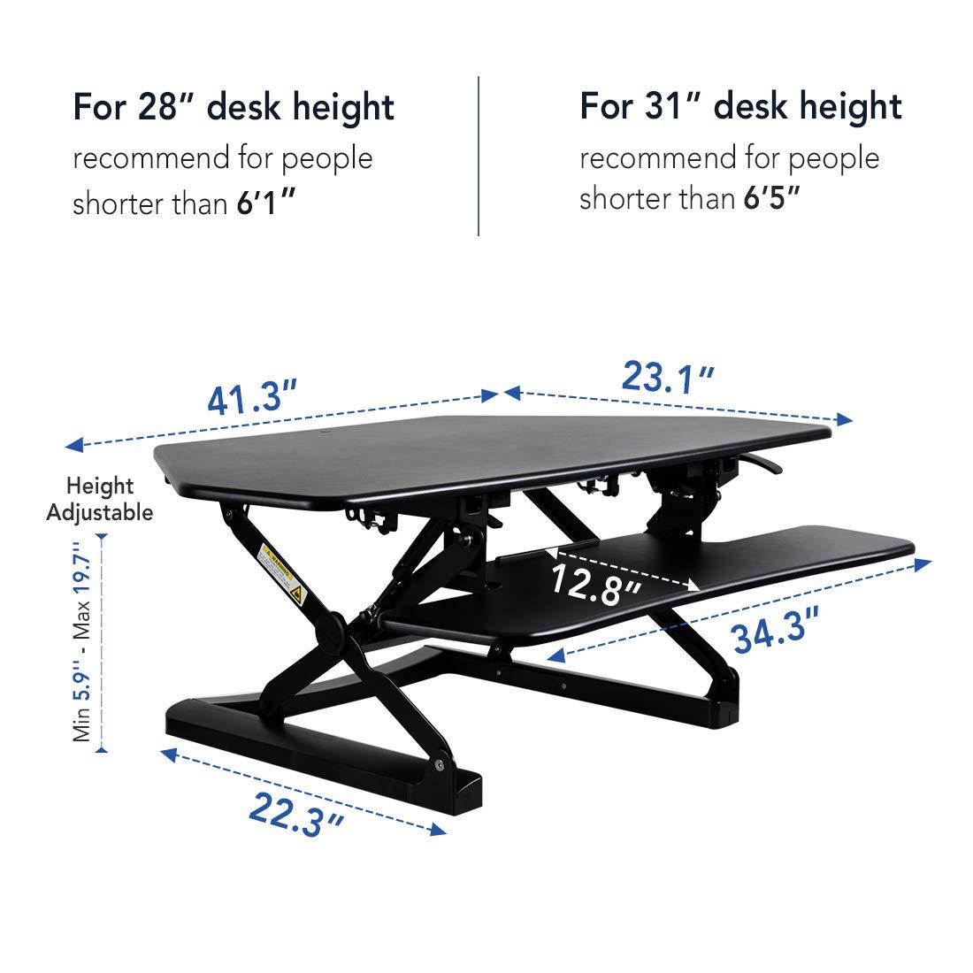 FlexiSpot Standing Desk – 41 Cubicles Corner Desk Riser Computer Riser Fit Dual Monitor with Removable Keyboard Tray M4B-Corner-Black