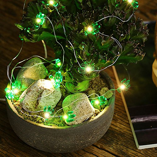 10 ft 30 Lights LED Copper Wire String Lights,Pine nuts /Sunflower/Green Cactus/Pink Rabbit Shape Fairy Lights Decoration Festival Party Home Public Place Deco Light Battery Operate (Green Cactus) by Plymist (Image #3)