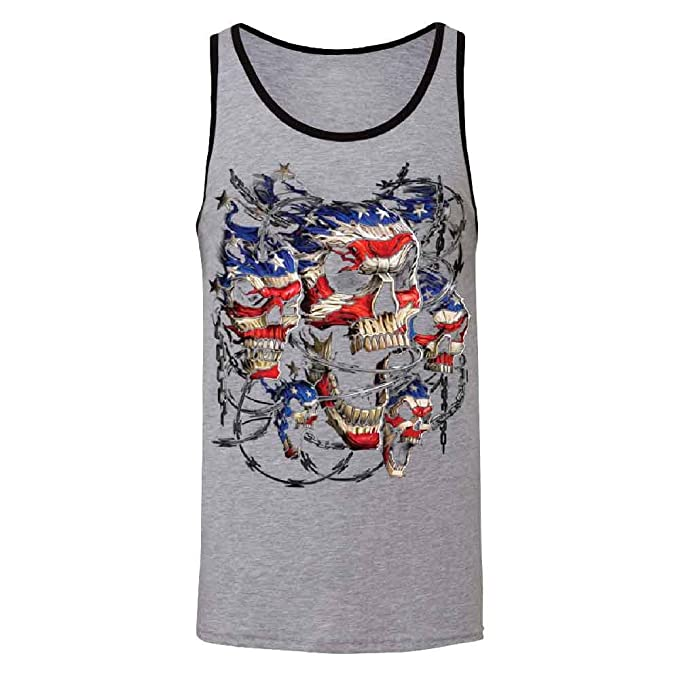 382114d5f8078 Zexpa Apparel Chained Skulls American Flag Men s Tank Top 4th of July USA  Flag Shirts Athletic