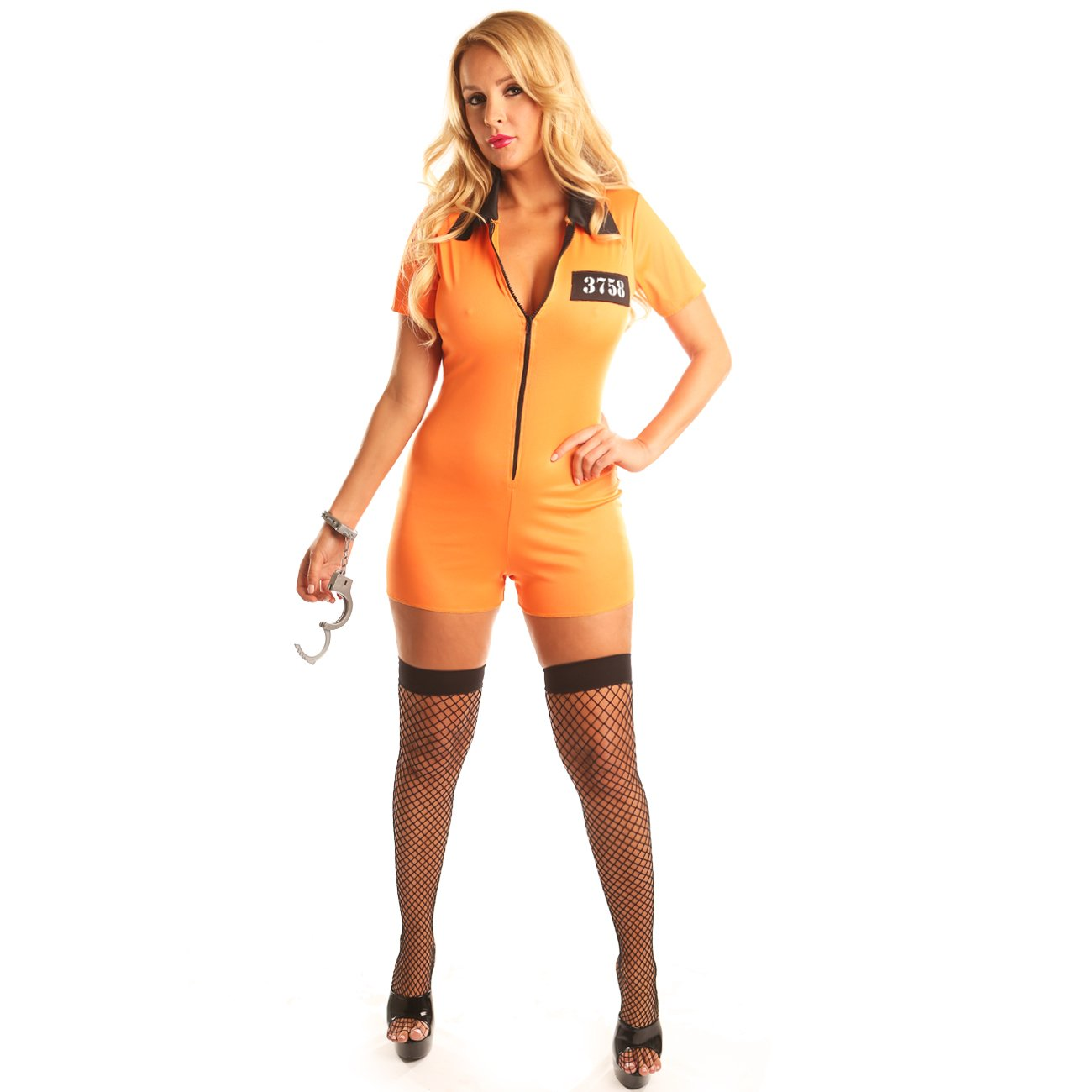 Disiao Sexy Women's Orange Prisoner Costume Set Fancy Ball Party Halloween Christmas Dress Up