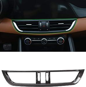 YIWANG Carbon Fiber Style ABS Chrome Car Interior Center Console AC Outlet Frame Trim Refitting Accessories for Alfa Romeo Giulia 2017-2020 (Carbon Fiber)