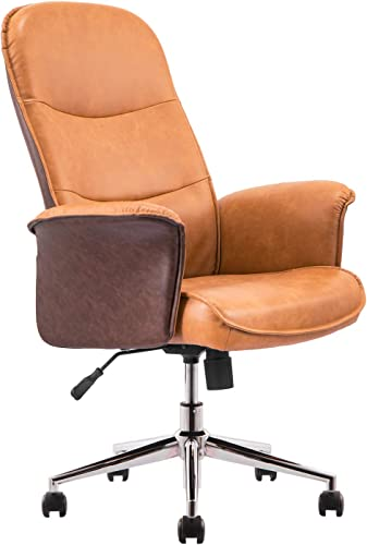 XIZZI Ergonomic Office Chair,Modern Computer Desk Chair,high Back Leathe Desk Chair with Lumbar Support for Executive or Home Office Brown Light Brown