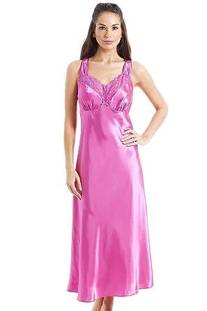 viele möglichkeiten einzigartiges Design Einkaufen Damen Nachthemd aus edlem Satin - lang - Rosa