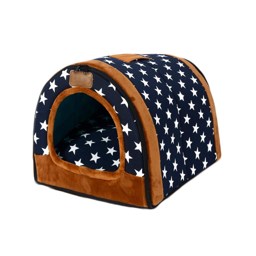 bluee MKennel, Removable Washable Small Mediumsized Dog House Four Seasons Cat Litter Winter Warm Pet Bed Mat, Four colors to Choose From (color   Multicolord, Size   M)