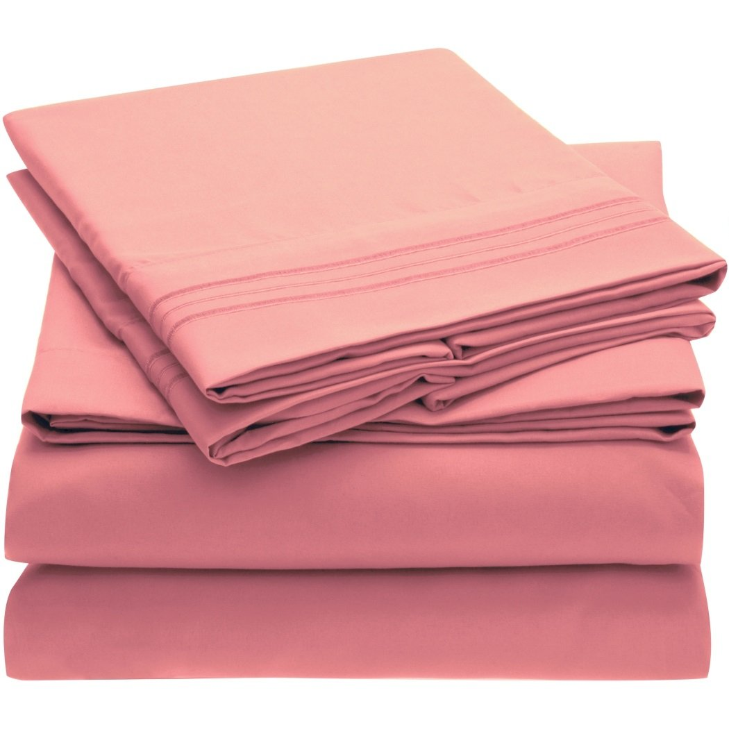 Harmony Linens Bed Sheet Set - 1800 Double Brushed Microfiber Bedding - 4 Piece Cal King, Pink