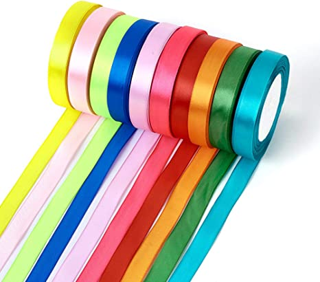 10 15 25mm 50 Yards Organza Satin Ribbon DIY Wedding Party Craft  Color Pick Sew