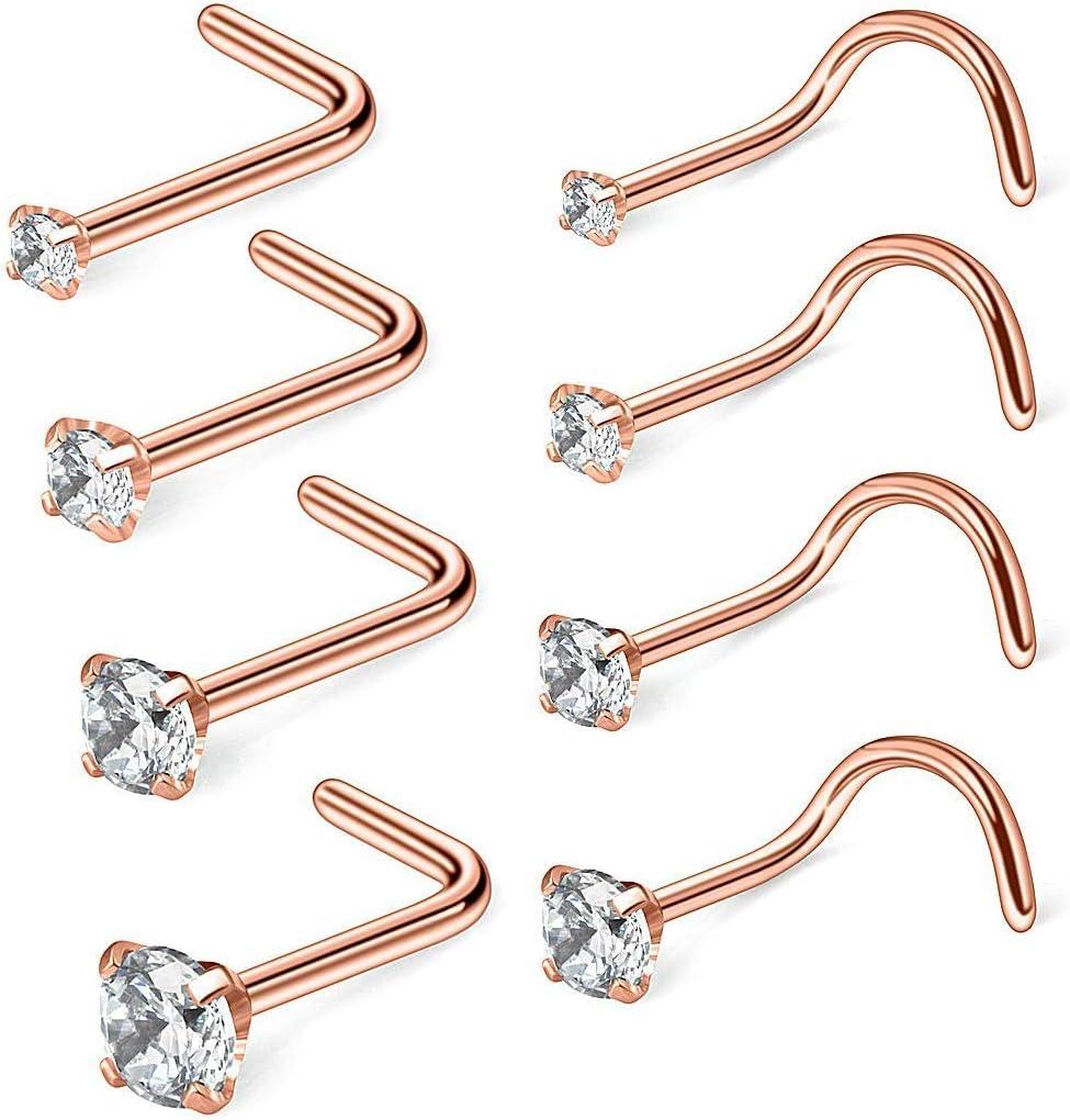40PCS//Set Nose Ring Bone Stud Stainless Steel Body Piercing Jewelry Women HS