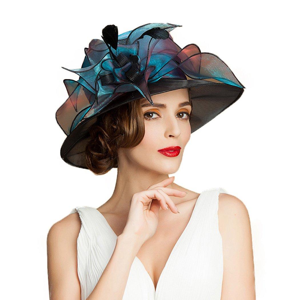 Womens FascinatorsLarge Brim Organza Church Fedora British Kentucky Derby Hat