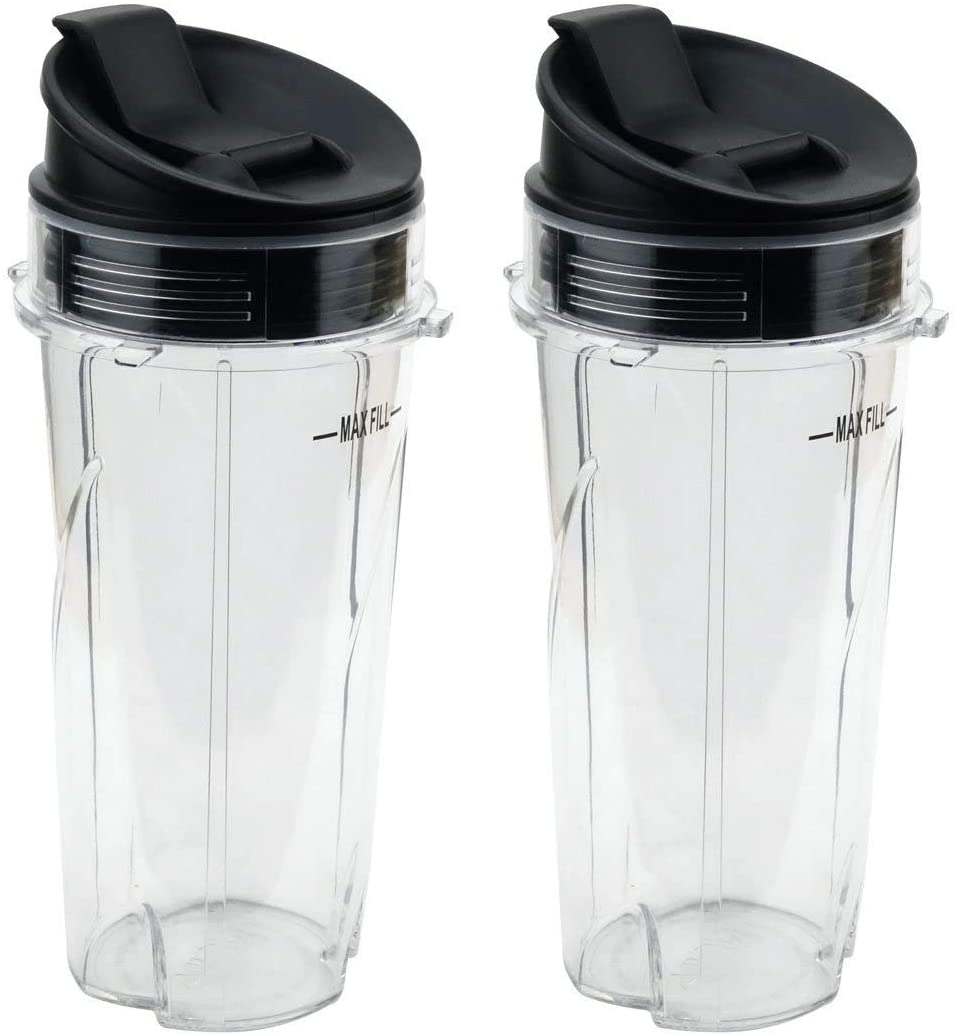 Joyparts Replacement Parts cups for Nutri Ninja Blender, 2 Pack 16oz Single Serve Cup and Sip & Seal Lid Fit for Ninja Series BL770 BL780 BL660 All Pro 4Tabs Blenders