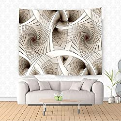 Nalahome Fractal Abstract Digital Futuristic Curved Spirals Sci Fi Stylized Dynamic Motion Illustration Beige Ethnic Decorative Tapestry Blanket Wall Art Design Handicrafts 36W x 24L Inches
