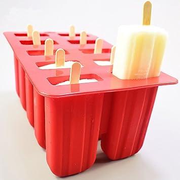 Whchiy - Moldes de 10 cavidades para hacer paletas de hielo con 50 palos de madera rosso: Amazon.es: Hogar
