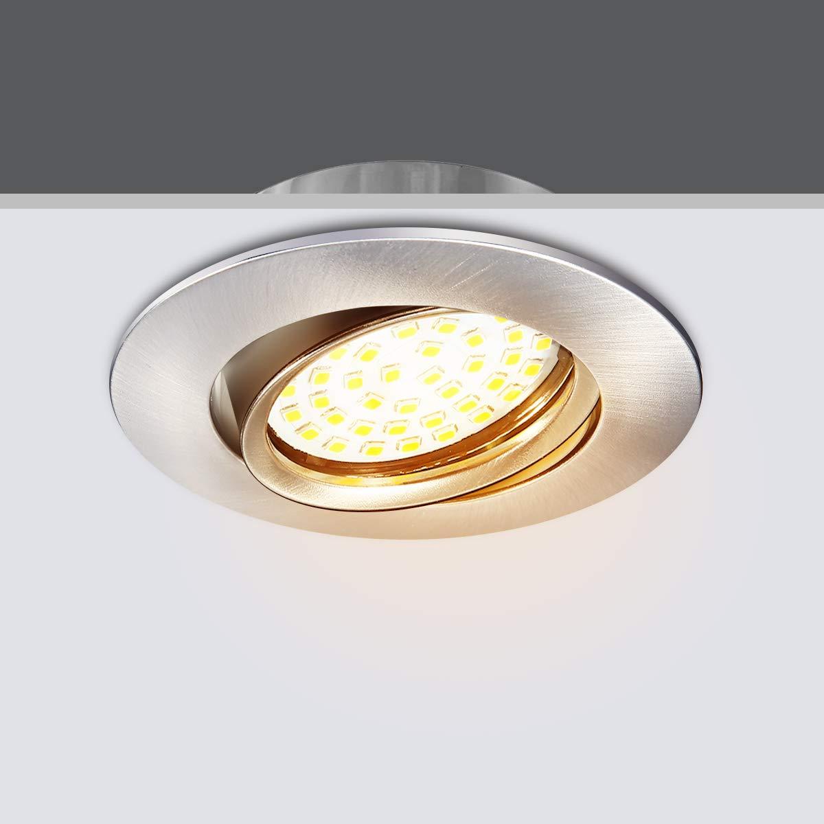 Elfeland LED Einbaustrahler Schwenkbar 6x 5W 48 LED Modul Deckeneinbaustrahler Deckenspot Einbauspot Deckeneinbauleuchte Spot Einbauleuchte Einbaustrahler 450lm 3000K Warmwei/ß IP44 LED Deckenstrahler