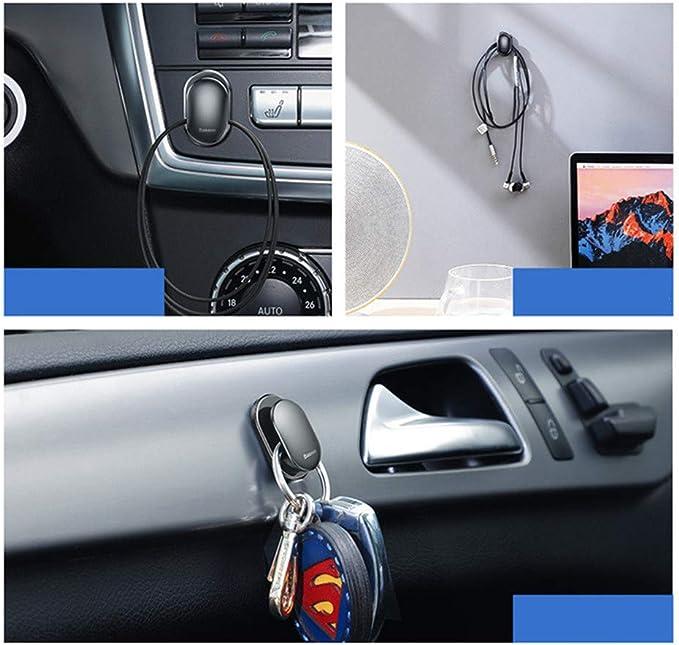 8 Pieces Car Dashboard Hooks Vehicle Black Sticky Hooks Multifunctional Vehicle Adhesive Hooks for Key USB Cable Earphone Cable Holder Vehicle Decor