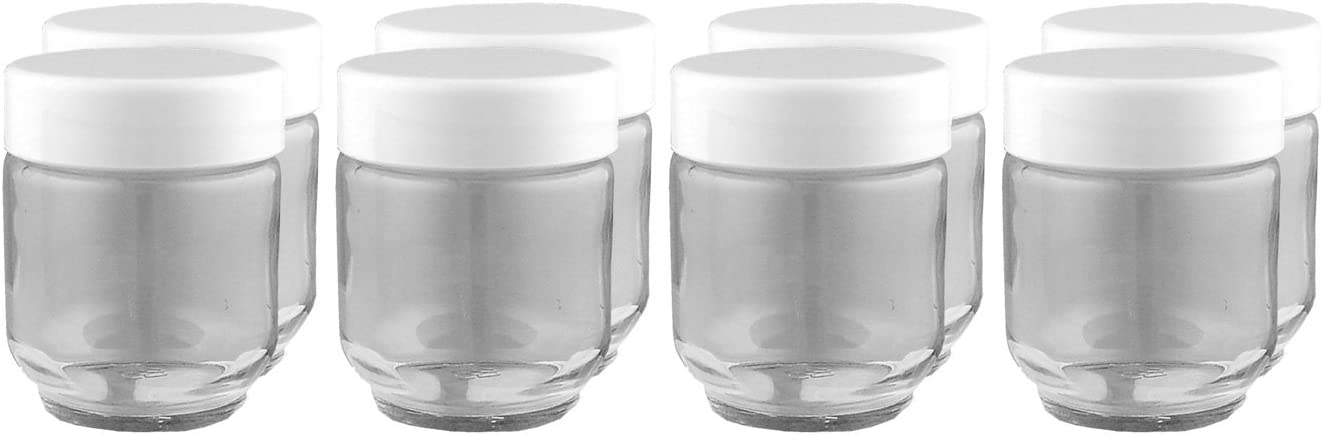 Euro Cuisine Glass Jars for Yogurt Maker, Set of 8: Kitchen & Dining