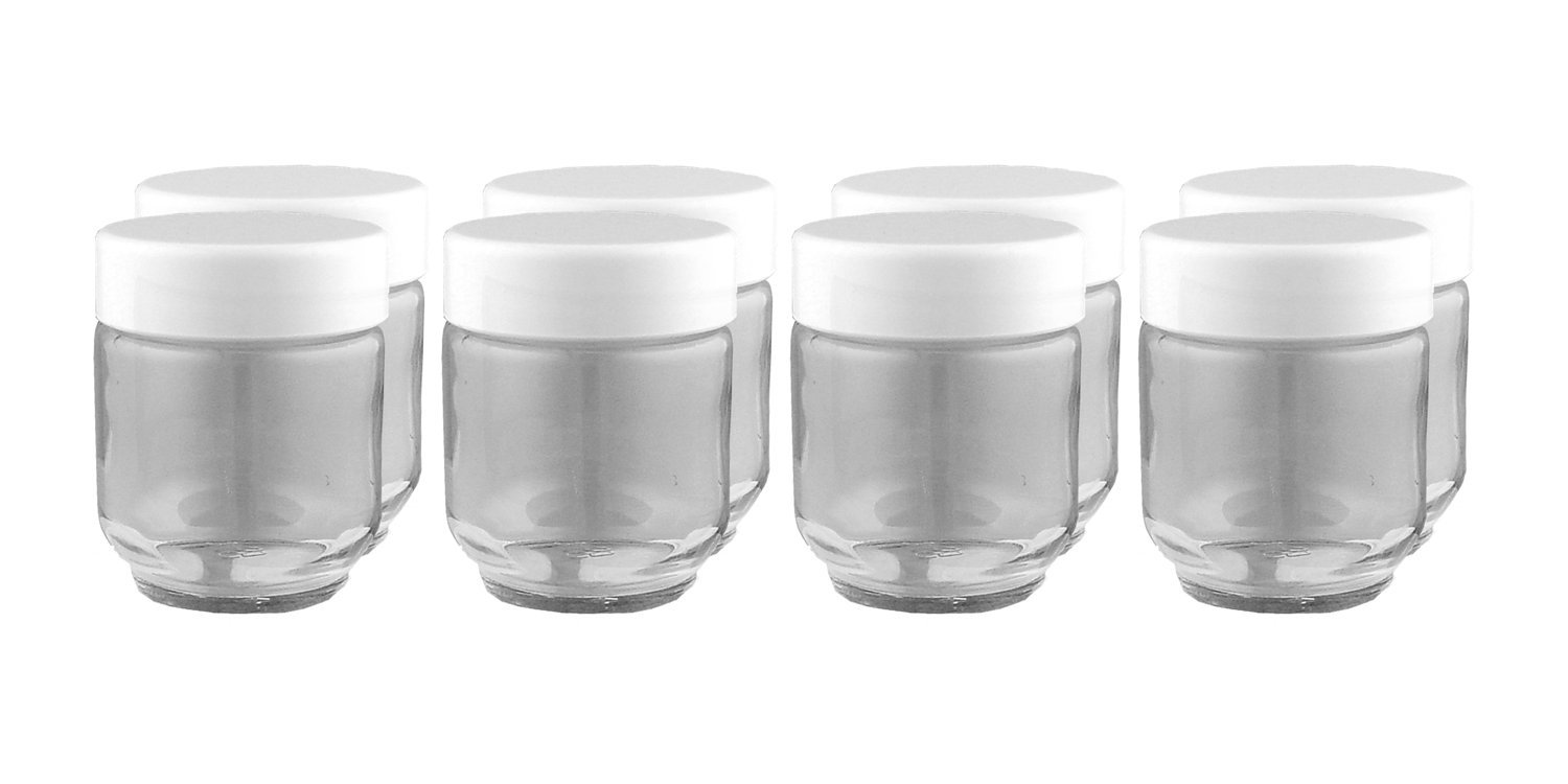 Euro Cuisine set of 8 Glass Jars for Yogurt Maker