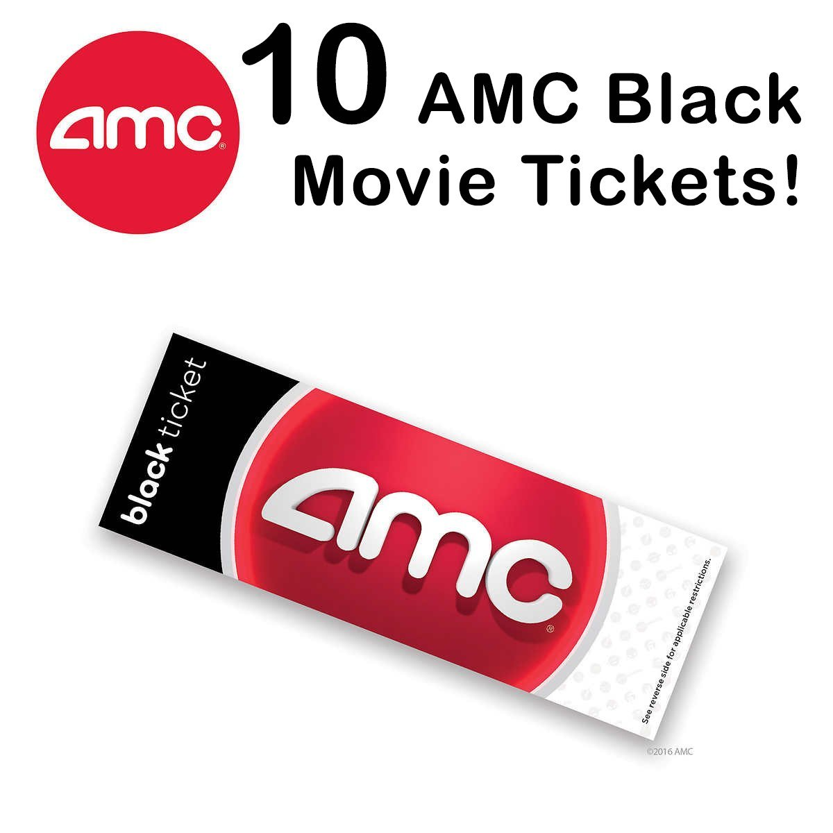 picture about Amc Printable Tickets called : 10 AMC Theatre Black Video Tickets (Help save $15+):