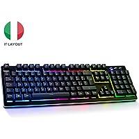 Tastiera Meccanica Italiano, Tastiera gaming pc rgb led illuminata retroilluminata, Tastiera per Giochi Semi-Meccanica Mechanical Keyboard Layout Italiano Nero