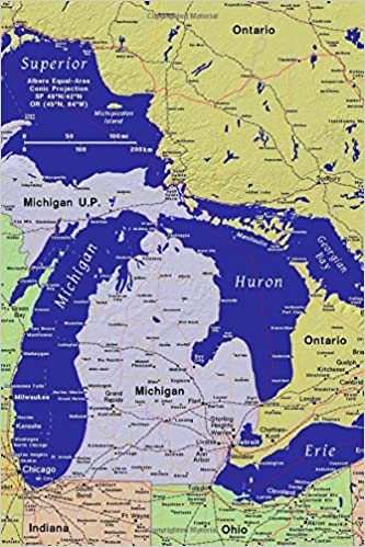 Great Lakes United States Of America Usa Map Journal Take Notes - Great-lakes-on-the-us-map