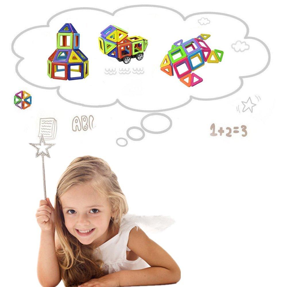 LUXJET 95 Pezzi Blocchi Costruzioni Magnetici,3D Giocattolo Educativo e Creativo per i Bambini di oltre 3 anni