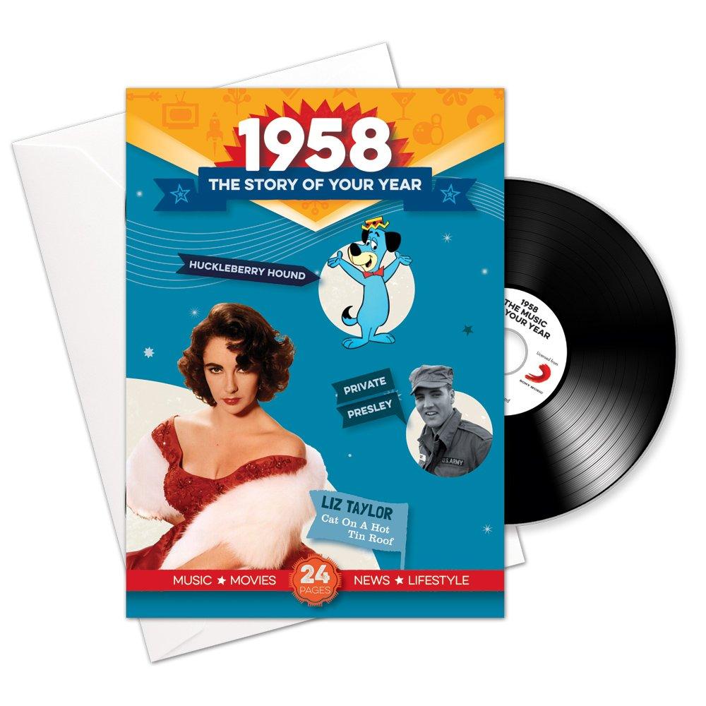 1958 cumpleaños o aniversario regalos - 1958 4-en-1 tarjeta ...