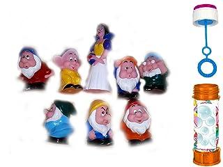 Pupazzi GOMMOSI Morbidi Biancaneve e i 7 Nani morbidosi Anche per Bagnetto Bagnetto Gioco Giocattolo per Bambini Confezione con Diversi SOGGETTI ricevi Anche Un Astuccio Bolle di Sapone