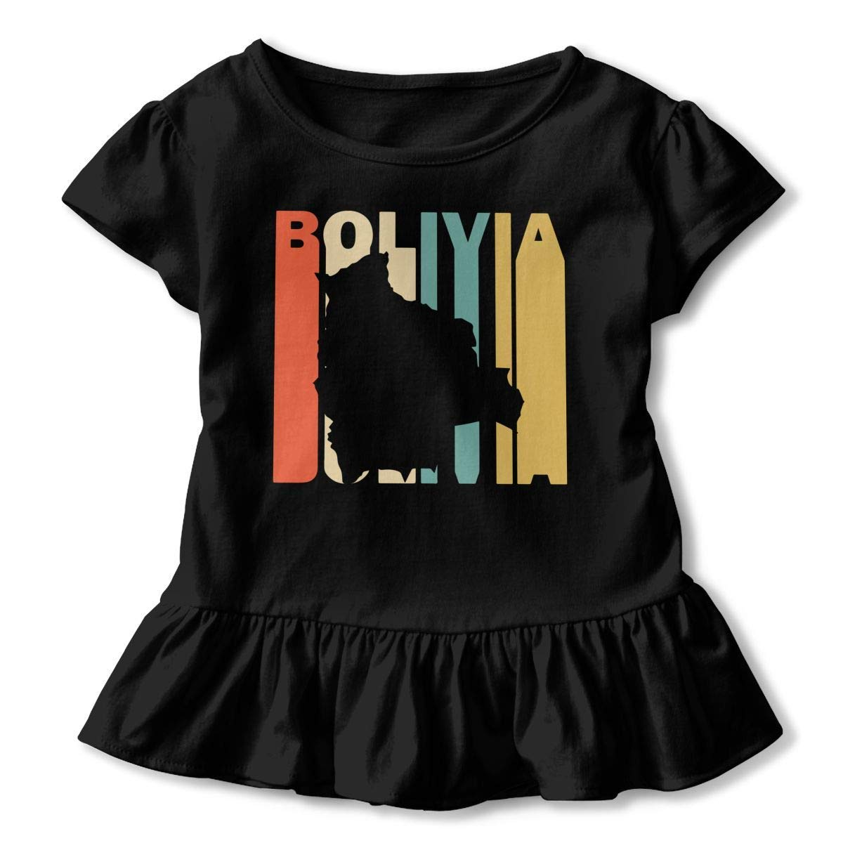 Short Sleeve Retro Style Bolivia Silhouette T-Shirts for Kids Fashion Blouse Clothes with Falbala 2-6T
