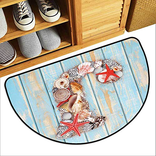 DILITECK Non-Slip Door mat Letter J Summer Holiday on Tropical Beach Theme J Rustic Old Wood Planks Anti-Fading W36 xL24 Pale Blue Ivory Dark Coral (Best Equestrian Colleges In Us)