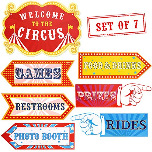 Circus Carnival Birthday Party Directional Signs, Large Size 15