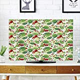 iPrint LCD TV dust Cover,Rowan,Green Leaves Wild Mountain Fruits Raceme Continuous Seasonal Pattern,Red Apple Green Fern Green,3D Print Design Compatible 70'' TV