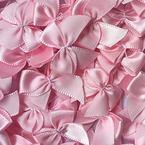 "Chenkou Craft 60pcs Mini Satin Ribbon Bows Flowers 1""x3/4"" Appliques DIY Craft Pink Color"