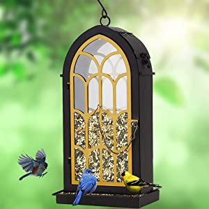 Rotot Archway Bird Feeder, Yellow Metal Perches with 2.75 Pounds Seed Capacity - Nature Friendly (Renewed)