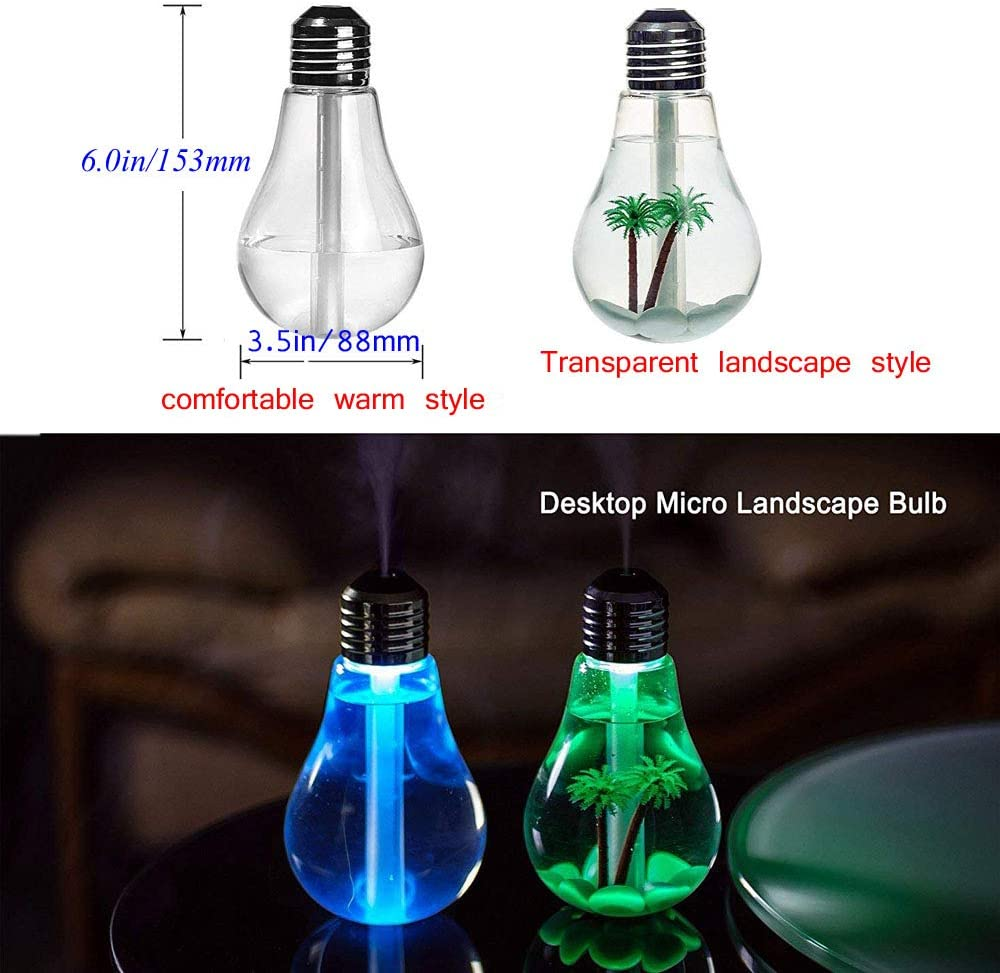 400ml USB Bulb Shape Air Humidifier Aroma Diffuser Mist Oil Purifier U3T9