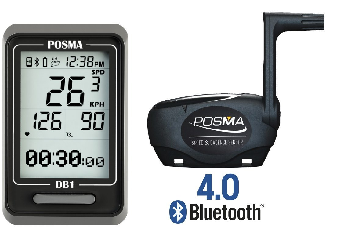 POSMA DB1 BLE4.0 Cycling Computer Speedometer Odometer Waterland Limited DB1BHR20 Support GPS by Smartphone Integration iPhone and Android BHR20 Heart Rate Monitor and BCB20 Speed//Cadence Sensor Bundle Option Available