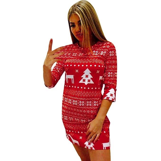 Weihnachtskleid Damen URSING Drei Viertel Ärmel Weihnachten Hirsch ...