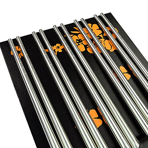 10 pairs Metal Chopsticks, Marrywindix Stainless Steel Spiral Chopsticks Steel Tableware