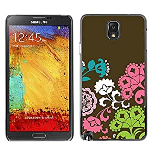X-ray Impreso colorido protector duro espalda Funda piel de Shell para SAMSUNG Galaxy Note 3 III / N9000 / N9005 - Flowers Pattern Brown Pink Green