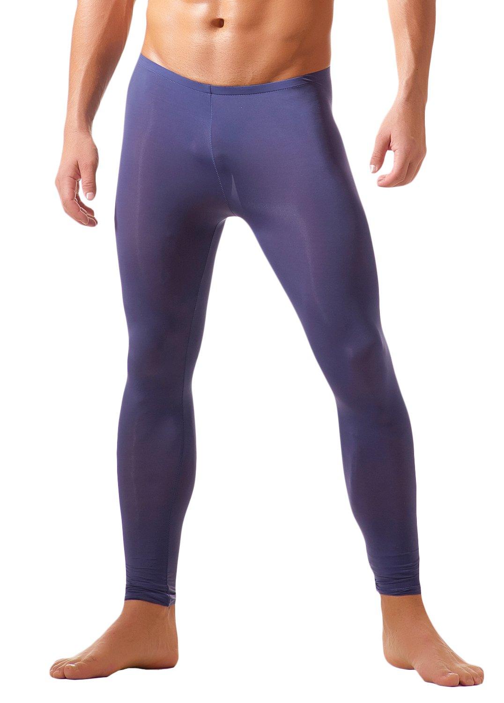 WUAMBO Men's Fashion Thermal Bottoms Men Warm Long Johns Purple US Small by WUAMBO